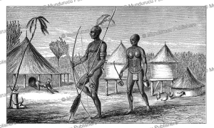 bari people and their huts, south sudan, samuel baker, 1866