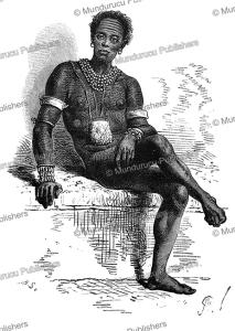 joctian, a chief of the nuer, south sudan, alphonse de neuville, 1867