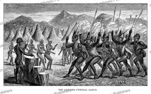 latuko (otuho) funeral dance, south sudan, jean baptiste zwecker, 1866