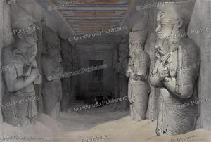 interior of the great temple of abu simbel, nubia, david roberts, 1846