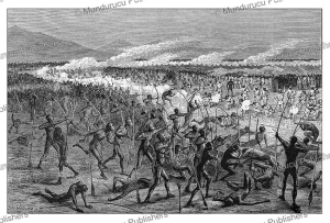 general night attack on the trading station at gondokoro, southern sudan, g. durand, 1874