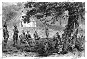 Florence and Samuel Baker receive the chief of Faieera, Grand Sheik of the Acholi, Sudan, Jean Baptise Zwecker, 1874 | Photos and Images | Travel