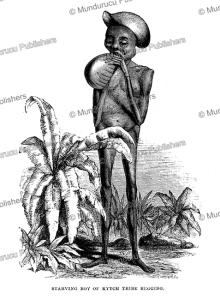 starving boy of the kitch tribe in darfur, south sudan, samuel baker, 1866