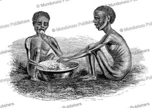 starving boys of the kitch tribe in darfur, south sudan, samuel baker, 1866