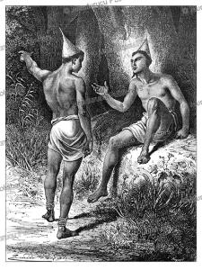 hair style of men of king shinte, zambia, emile bayard, 1866