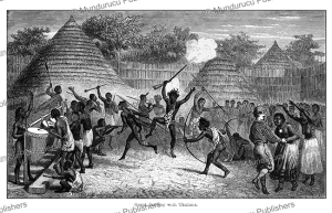 captain james augustus grant dancing with the queen at the dance in king ukulima's residence, tanzania, fuchs, 1863