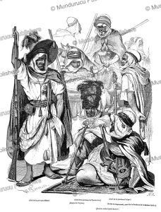 types of men of algeria, northern africa, l'illustration, 1846