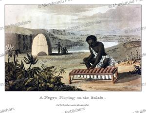 a negro playing on the balafon, western africa, frederic shoberl, 1821
