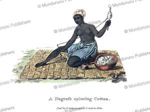 negro women spinning cotton, west africa, frederic shoberl, 1821