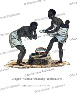 negro women washing themselves, west africa, frederic shoberl, 1821