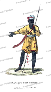 a negro foot soldier, western africa, frederic shoberl, 1821