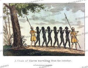 a chain of slaves travelling from the interior, west africa, frederic shoberl, 1821