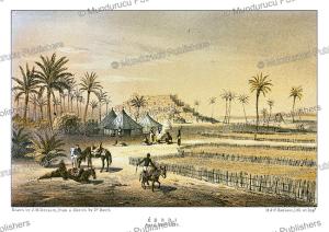 campsite at the oasis of ederi (fezzan), libya, j.m. bernatz, 1857