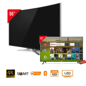 "tcl led55p3cus curved 4k ultra hd smart tv - 55"" black + free 32 smart android hd led tv"