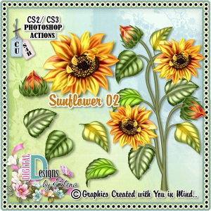 Sunflower PS Action | Other Files | Scrapbooking