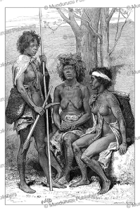 australian women with boomerangs, south australia, d. maillart, 1880