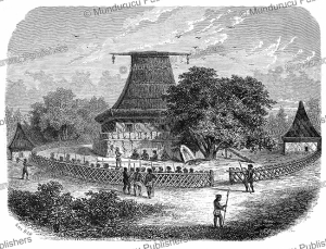 a mbure-kalou or temple on fiji with a cannibalistic ritual, a. de bar, 1860