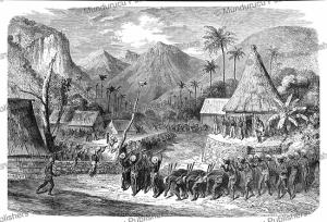 war dance by fijian warriors, fiji, gustave dore´, 1860