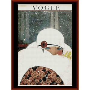 vogue winter - vintage poster cross stitch pattern by cross stitch collectibles