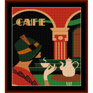 deco cafe - vintage poster cross stitch pattern by cross stitch collectibles
