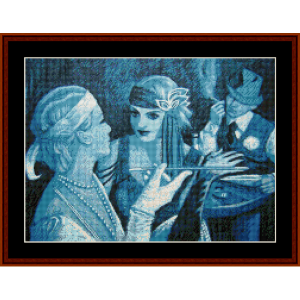 women in blue - vintage poster cross stitch pattern by cross stitch collectibles