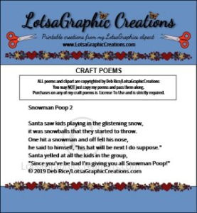 Snowman Poop 2 Poem | Other Files | Arts and Crafts