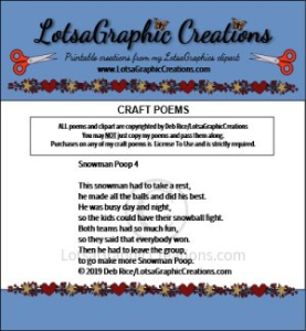 Snowman Poop 4 Poem | Other Files | Arts and Crafts
