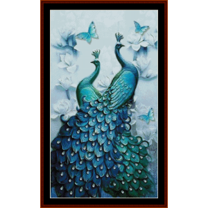 peacock heaven - wildlife cross stitch pattern by cross stitch collectibles