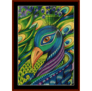 pensive peacock - wildlife cross stitch pattern by cross stitch collectibles