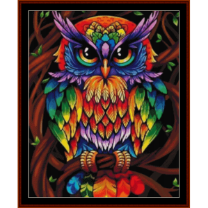 psychedlic owl - wildlife cross stitch pattern by cross stitch collectibles