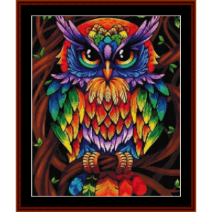 psychedlic owl (small) - wildlife cross stitch pattern by cross stitch collectibles