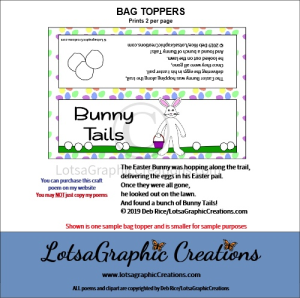 bunny tails 1 bag topper
