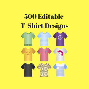 500 high quality editable designs for mugs, t-shirts, pillows, pod print on demand, psd png jpg files + free ebook