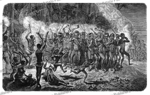 A nightly Pilupilu or pila-pila, a dance by the natives of New Caledonia, Vanuatu, Richard Oberlander, 1873 | Photos and Images | Travel