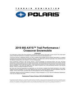 2019 polaris 850 axys trail performance crossover snowmobile service manual pdf download