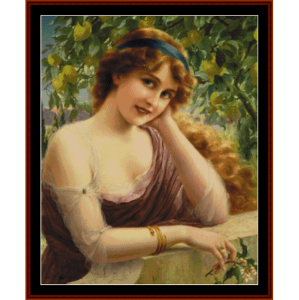 girl by the lemon tree - e. vernon cross stitch pattern by cross stitch collectibles