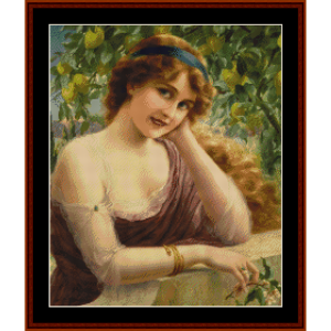 Girl by the Lemon Tree (Small) - E. Vernon cross stitch pattern by Cross Stitch Collectibles | Crafting | Cross-Stitch | Other
