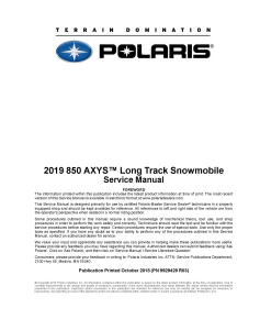 2019 polaris 850 axys long track snowmobiles service manual pdf download