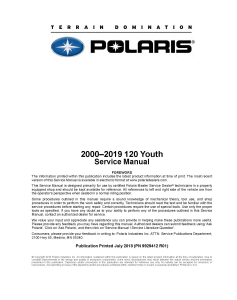2000-2019 Polaris 120 Youth Snowmobiles Service Repair Manual PDF Download | eBooks | Reference