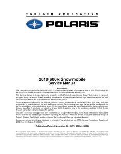 2019 polaris 600r snowmobiles service repair manual pdf download