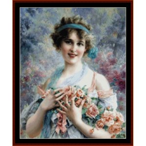 rose girl - emile vernon cross stitch pattern by cross stitch collectibles