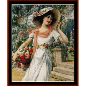 the flower garden - emile vernon cross stitch pattern by cross stitch collectibles