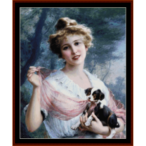 the mischievous puppy - emile vernon cross stitch pattern by cross stitch collectibles