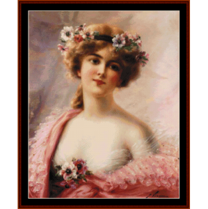 Girl with Anemones - Emile Vernon cross stitch pattern by Cross Stitch Collectibles | Crafting | Cross-Stitch | Other