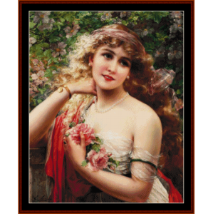 lady with roses - emile vernon cross stitch pattern by cross stitch collectibles
