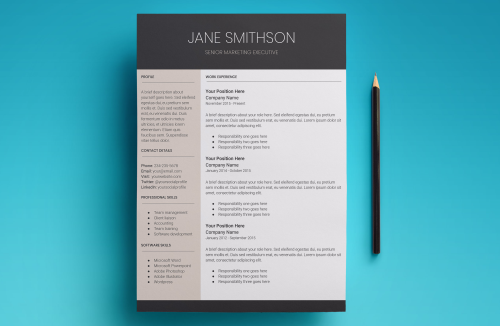 Second Additional product image for - Europa Resume Template
