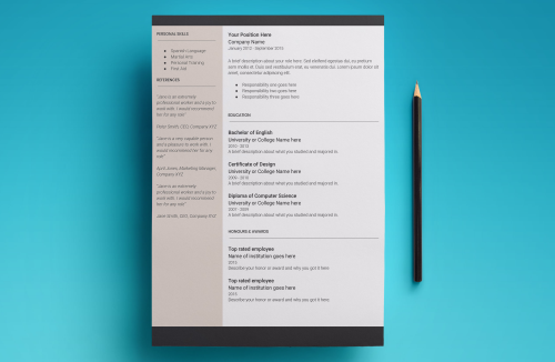 Third Additional product image for - Europa Resume Template
