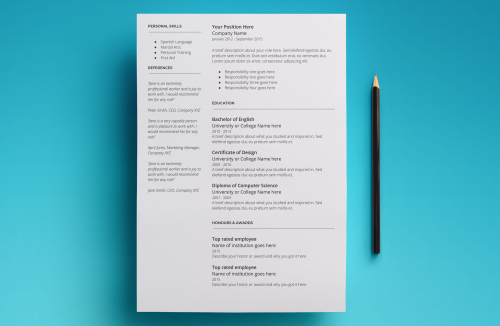 Third Additional product image for - Mars Resume Template