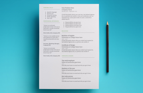 Third Additional product image for - Mercury Resume Template