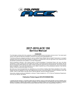 2017-2019 Polaris ACE 150 ATV Service Repair Manual PDF Download | eBooks | Reference